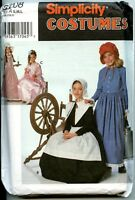 Girls Puritan, Centennial, 18/19th Century Costume - Simplicity Patrn - Sz S-m-l