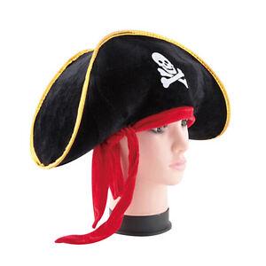 Pirate-Captain-Hat-Skull-Crossbone-Cap-Costume-Fancy-Dress-Party-Halloween-gi-LJ