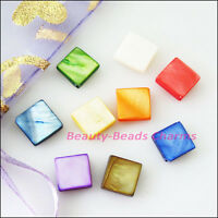 35Pcs Mixed Smooth Square Flat Natural Shell Spacer Beads Charms 9mm