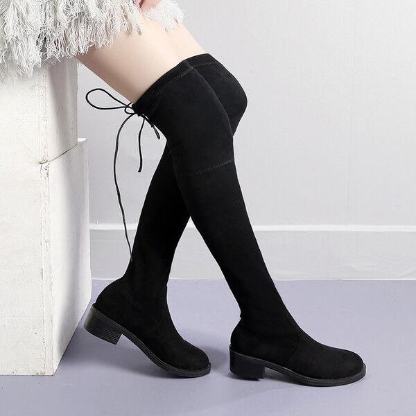 Bottes cuisse genou noir femme talon 4 cm élégant comme cuir 9643