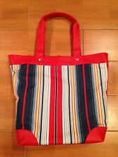 NEW! Lancome Large Tote Handbag Shopping Beach Bag Red Multi-Color Stripe