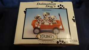 Young-039-s-Dalmation-Dog-039-s-Collectibles-1997-3-Puppies-in-a-Red-Wagon-096587306666