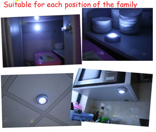 Hot LED Touch Night Lights Home Cabinet Push Tap Stick On Battery Powered Lamp