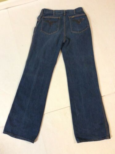 Vintage Lee Denim Jeans Gold Pin Flared Bottom Bea