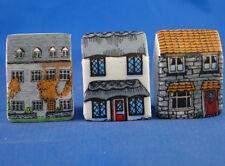 Birchcroft Thimbles -- Set of Three -- Miniature House Shape - Town
