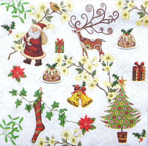 4 Servilletas papel almuerzo único para Decoupage Fiesta Vintage Navidad alrededor