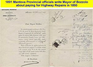 1890-1891 Mantova adminstration letter on road repairs to Mayor of Bozzolo. (35)