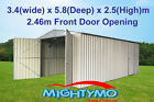 Garden Shed, 3.4(W) x 5.8(D) x 2.5(H)m, Large Steel, Workshop, Storage, Garage