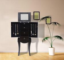 Jewelry Armoire Box Storage Chest Cabinet Necklace Organizer Mirror Stand Black
