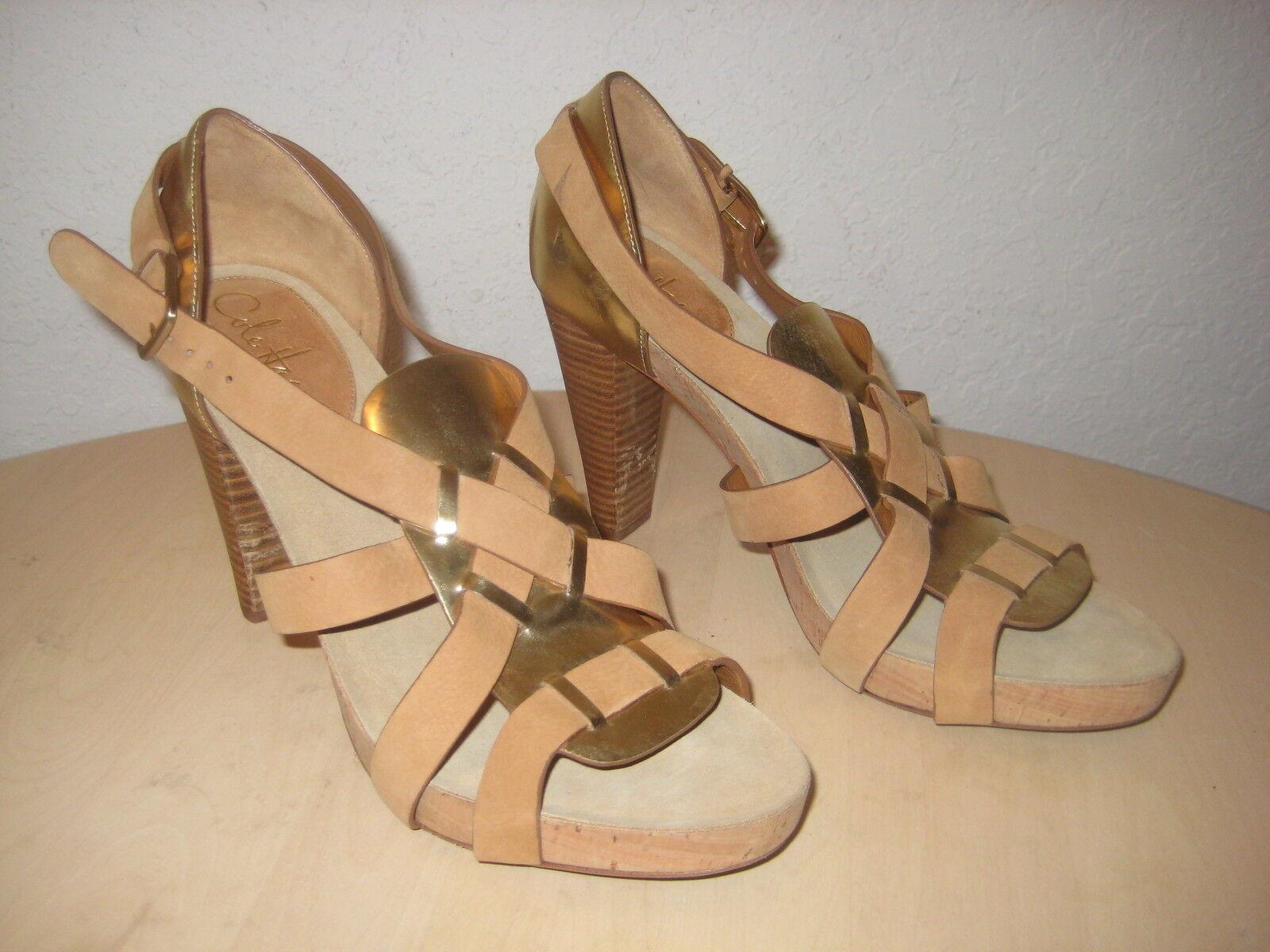 Cole Haan Schuhes Größe 10 M Damenschuhe NEU Gold Braun Strappy Open Toe Heels NWOB