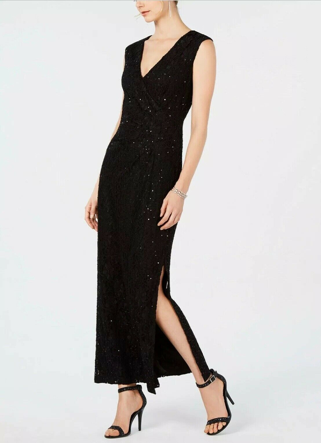 Connected Sequined Lace Gown Women's Party Navy Dress Size 8 P