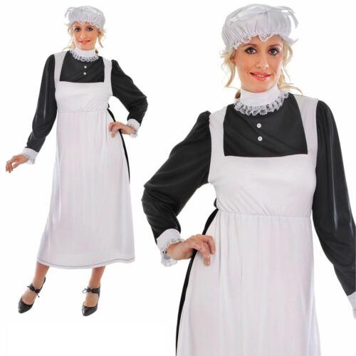 victorian maid fancy dress costume florence nightingale 10 12 14 16 mob cap