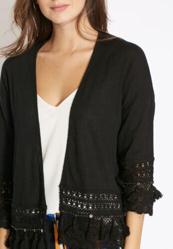 Ex Dorothy Perkins Black Tassel Beaded Crochet Trim Kimono Size XS S M L XL