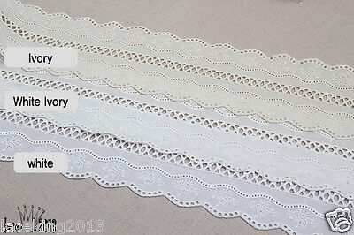 10+free4Yds Broderie Anglaise cotton eyelet lace trim 8cm YH1489a laceking2013