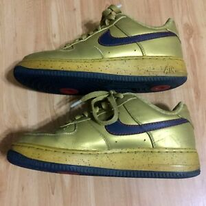 Nike Air Force 1 Premium 317314-741 Gold Navy Shoes Charles Barkley ... 43c2730b87cd