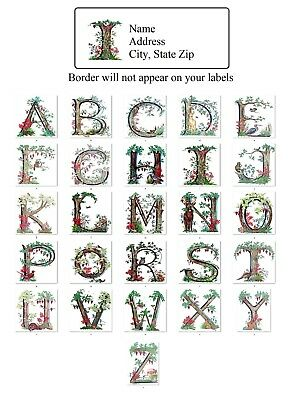 30 Return Address Labels Alphabet Trees Jungle Animals Buy 3 get 1 free alf 2