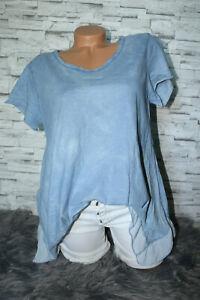 Italy-New-Long-puder-T-Shirt-Bluse-blau-Gr-36-38-40-42-blogger-Tunika-Vintage