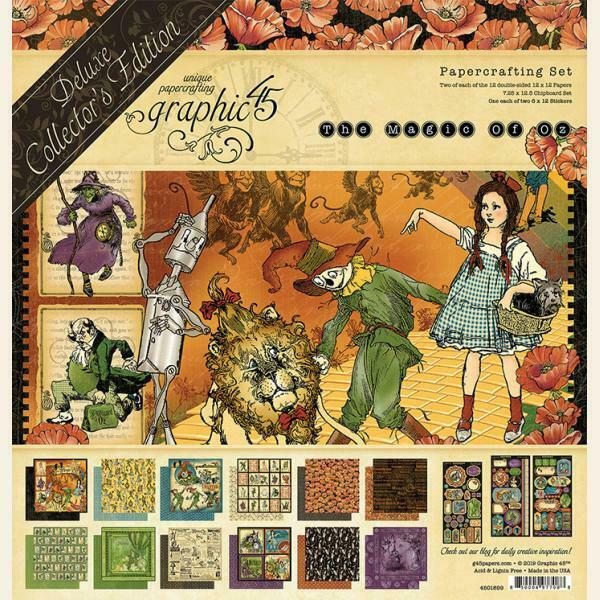 Graphic 45 Magic of Oz Deluxe Collector's Edition 12x12 Paper Pack + Stickers