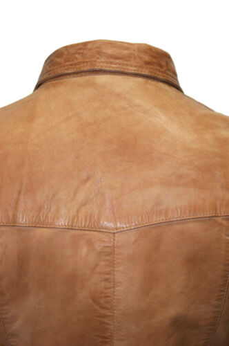 Men/'s Gents Tan Adjustable Collar Casual Retro Soft Real Leather Shirt Jacket