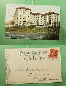 1906 BOSTON MA FLAG CANCEL HOTEL SOMERSET POSTCARD TO URUGUAY
