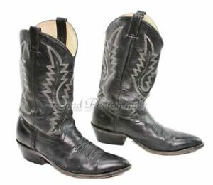 Pre-Owned-Men-039-s-Size-11-D-Black-Leather-Western-Cowboy-Boots-Broke-In