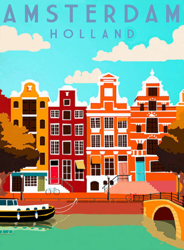 Travel Advertising Poster Amsterdam Holland 1950/'s