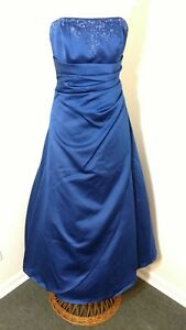Size 4 Davids Bridal Formal Gown Strapless Prom Dress Royal Blue Ebay