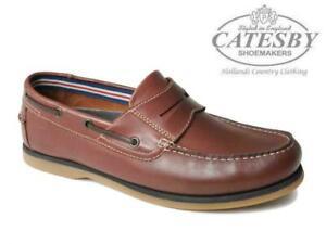 Hommes-Catesby-Chaussures-Bateau-en-Cuir-Veritable-a-Enfiler-Mocassins-Deck-Smart-Decontracte