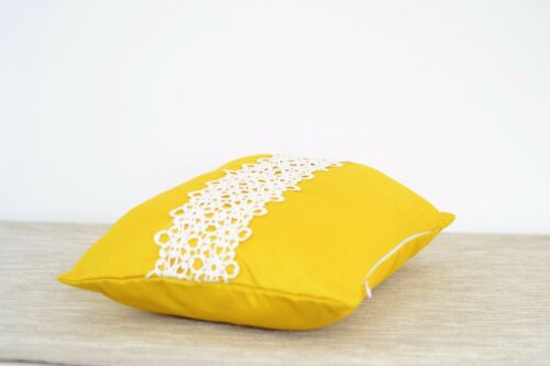 """2 x Yellow Oblong Cushion Cover SLIGHT DEFECTS with white Lace Feature 12/"""" x 16/"""""""