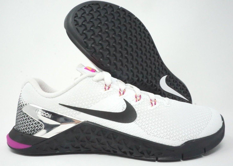 Nike Womens Metcon 4 Training Shoes White Black Pink Fuchsia Blast Size 11