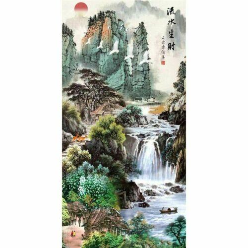Cascade bambou complet Perceuse bricolage 5D Diamond peinture cross stitch Kits Home Decor