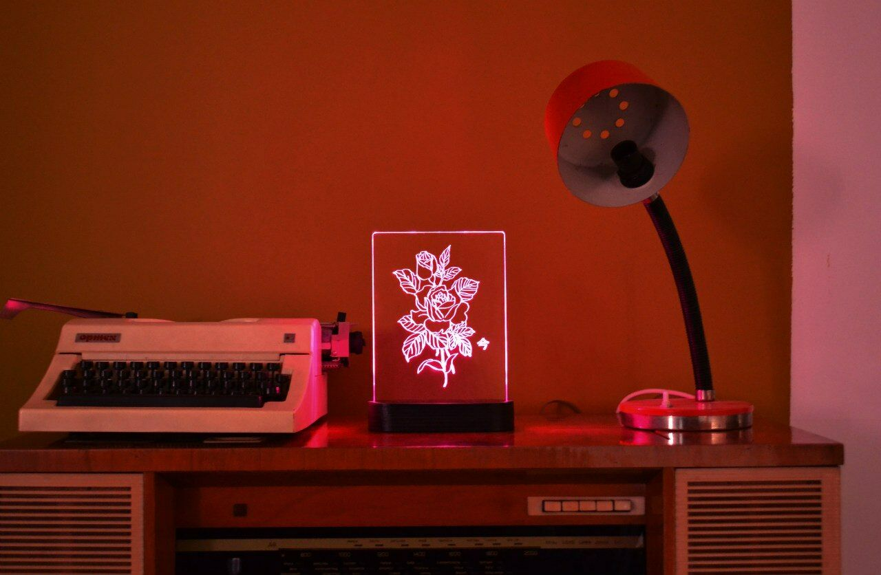Wood and and and Glass Rosa Floral Flower Vector Designer Hand Made Night Light Lamp 384a01