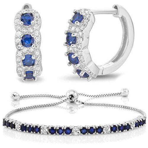 Magnifique Saphir Bleu Création Bracelet en diamant femme mariage fiançailles bijoux