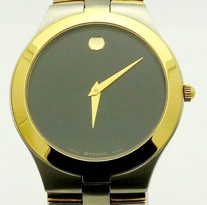 Men-039-s-Movado-JURO-Black-Museum-Dial-2Tone-Gold-Stainless-Steel-Swiss-Watch-2390