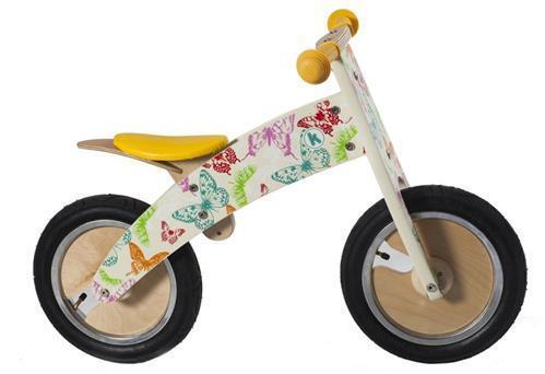 Kiddimoto Laufrad Kurve Butterflies - Lauflernrad - Roller - Holzlaufrad