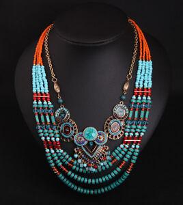 Vintage-Ethnic-Tribal-Seed-Beads-Necklace-Boho-Pendant-Statement-Women-Jewelry