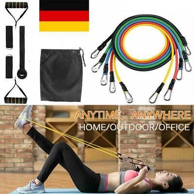 11tlg Fitnessbänder Expander Widerstandsbänder Set Gymnastikband Yoga Latexband