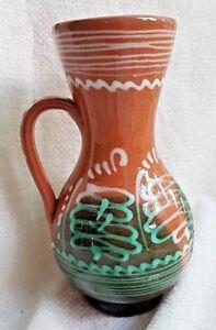 VINTAGE-HUNGARIAN-Collectable-GREEN-BROWN-KOROND-decorative-folk-art-jug-vase