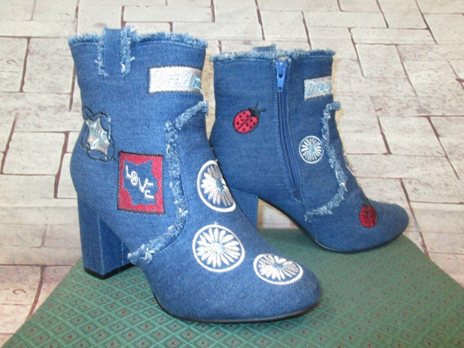 Gorgeous YOKI bluee Denim EMBROIDERED Zipper Boots Size 10