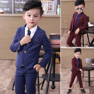 Toddler-Kids-Boys-Jacket-pants-One-Button-Outfit-Set-Formal-Suit-Wedding-Casual