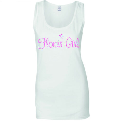 BRIDES SISTER WEDDING HEN NIGHT PINK CRYSTAL  VESTS TANK TOPS all sizes