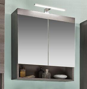 spiegelschrank bad opt. mit beleuchtung grau sardegna 60 badmöbel ... - Badezimmer Spiegelschrank Beleuchtet