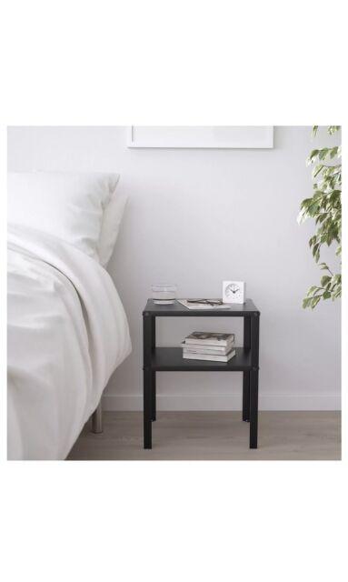 Black Metal Bedside Tables: IKEA KNARREVIK 403.867.31 Metal Bedside Table