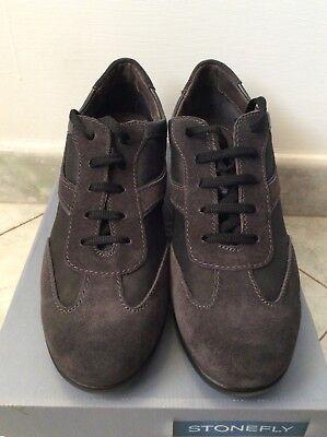 Mai Indossate Women's Shoes Bright Scarpe Scamosciate Con Lacci Stonefly Nere/grigio Scuro N.39