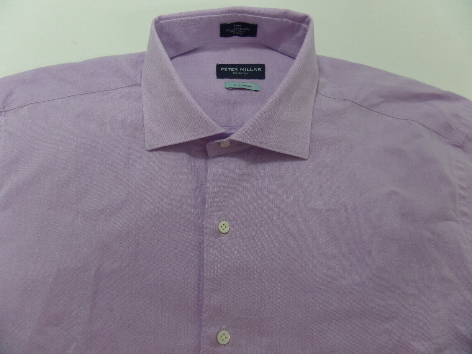 Peter Millar Perfect Pinpoint Button Front Shirt Mens Large Retail