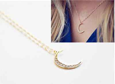 Pretty Crescent Moon Pendant Charm Necklace Galactic Univers Gold Plated Chain
