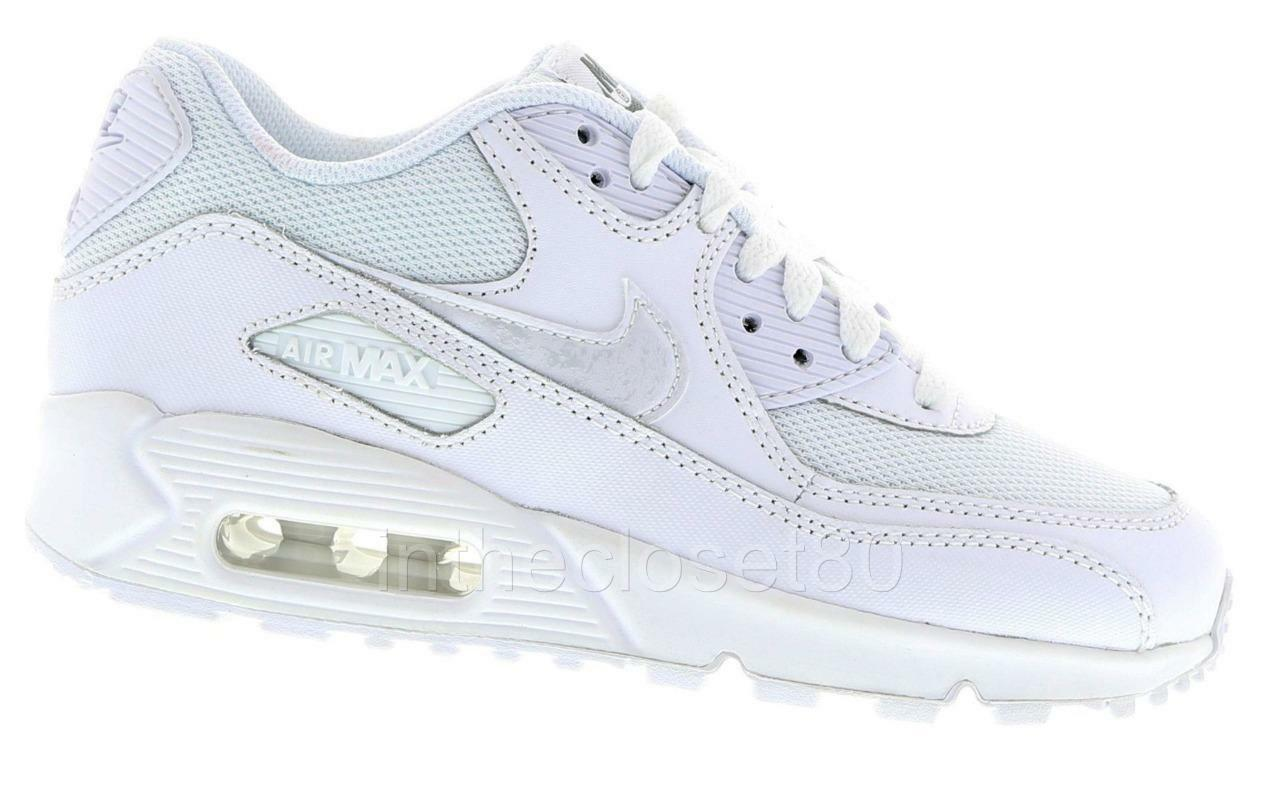 Nike Air Max 90 Leather GS All blanc Mesh Leather 90 Juniors femmes Boys Girls Trainers a5172f