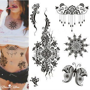 253e54736 Henna Temporary Tattoo Kit - Set of 6 - Mandala Butterfly Flowers ...