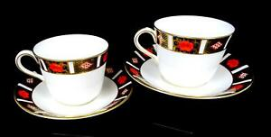 ROYAL-CROWN-DERBY-ENGLAND-A1314-OLD-IMARI-BORDER-4-PC-2-5-034-CUPS-amp-SAUCERS-1985