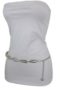 New-Women-High-Waist-Hip-Silver-Metal-Chains-Trendy-Belt-Leaf-Charms-Size-S-M-L